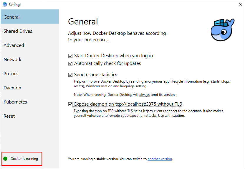 Docker Settings > Docker is running
