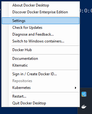 System-Tray > Docker Settings