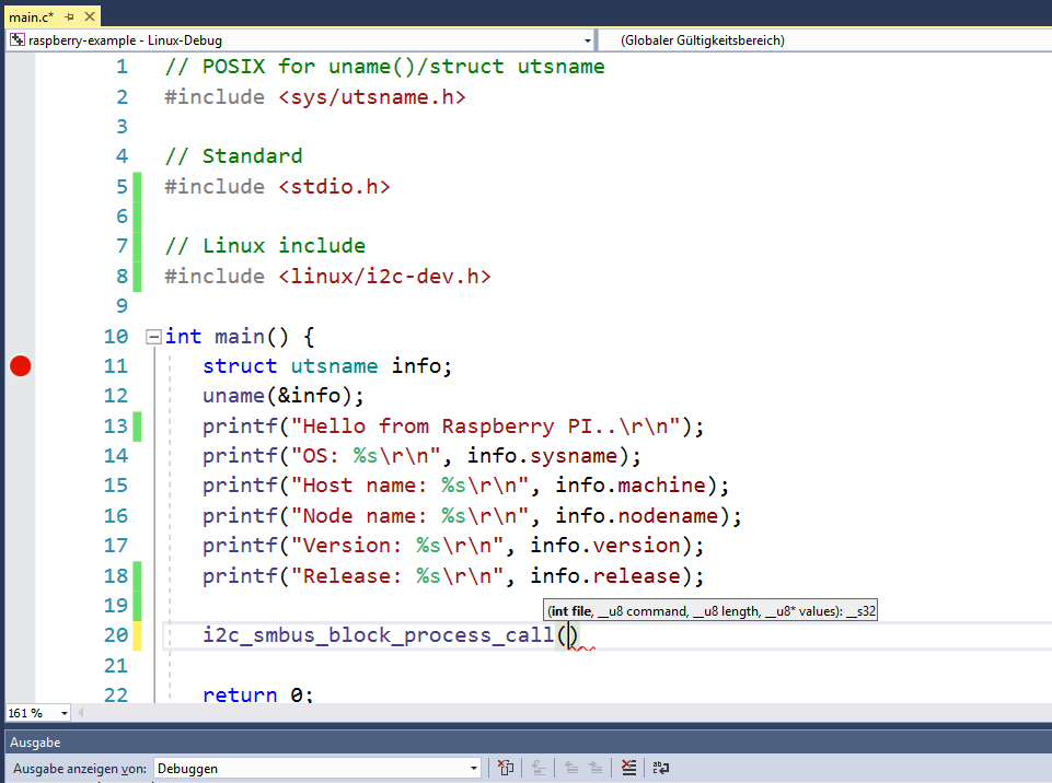 IntelliSense Linux Header