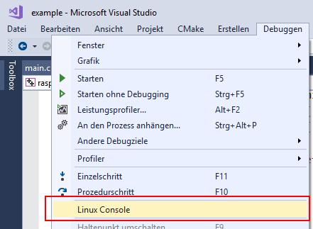 Menü Debuggen > Linux Console