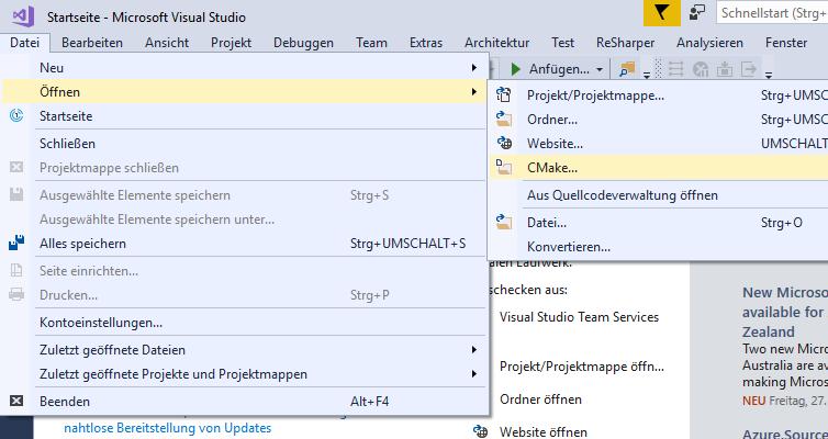 Datei > Öffnen > CMake...